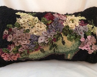 Victorian Shoe: Hand Hooked (Rug Hooking),  Completed, Pillow, Cushion