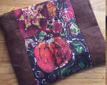pumpkin batik zipper pouch