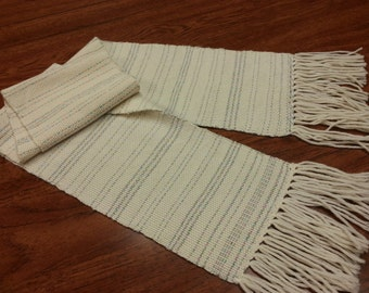 Hand Woven Scarf - Cream colored merino wool & silk with sparkle stripes -Free Priority shipping