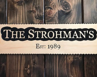 Custom Routed Wood Family Name Sign, Personlized Wedding Gift, Last Name Sign, Family Established Sign, Wedding Established Sign,wooden