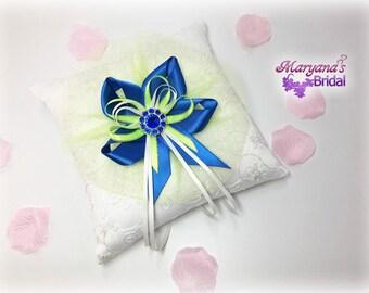 Royal Lime Wedding Ring Bearer Pillow. Royal Blue & Lime Green Ring Pillow. Disney Wedding Blue Green Ring Bearer. Blue Green Ring Pillow.