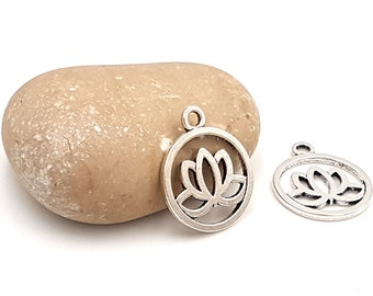 10 charms of silver lotus flower matte 24x20mm