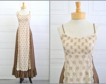 Vintage bohemian maxi peasant dress / 1970s Jody T Brown Prairie Sun Dress / Gunne Sax style handmade maxi dress