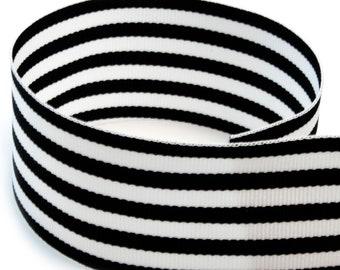 """1.5"""" Candy Stripe / Monarch Stripe Ribbon -Black & White Grosgrain Ribbon by the yard"""