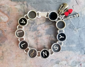 ALLONS Y! - Antique Typewriter Key Bracelet Doctor Who Fan Inspired