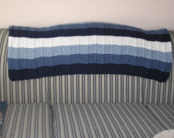 Knitted Afghan in Three Blues and White