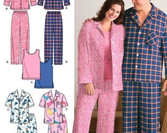 PLUS SIZE PAJAMAS Sewing Pattern - Unisex Sleepwear Pants Shorts Tank Top