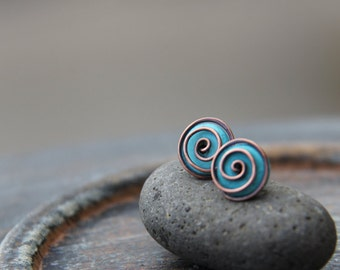 Spiral studs, turquoise, black onyx sterling silver or copper stud earrings, swirl, modern, black, blue, silver 925, wire wrap post earring