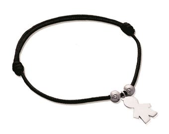 Bracelet Pendant boy and 2 beads, Silver 925/000 with personalization
