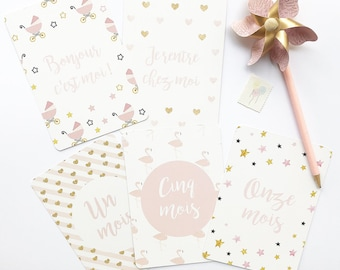 """Pack of my first year """"Sweet pink"""" (14 cards)"""