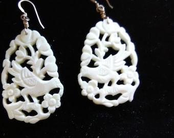 Carved White Bird Dangling Earrings