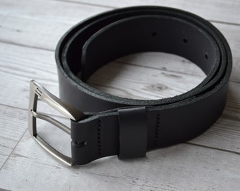 Leather belt  40 mm buckle 120 cm lenght  Hand stitched black leather