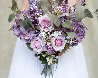 Lavender Bouquet, Purple Bouquet, Bridal Bouquet, Silk Bouquet, Wedding Bouquet, Wedding Flowers, Rose Bouquet, Boho Bouquet, Rustic Bouquet