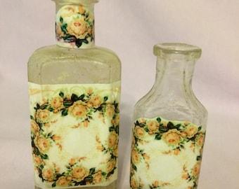 Antique glass decoupage