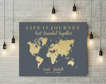 Life Is Journey Map | World Map Art | Push Pin Travel Map | Signature World Map | Canvas Art | Anniversary Gift For Husband - 55277
