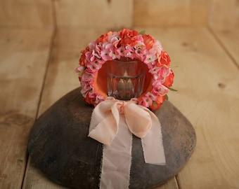 Flower Bonnet, Floral Bonnet, Baby Bonnet, Garden Fairy, Baby Photo Prop, Newborn Bonnet, Baby Flower Bonnet, Baby Hat
