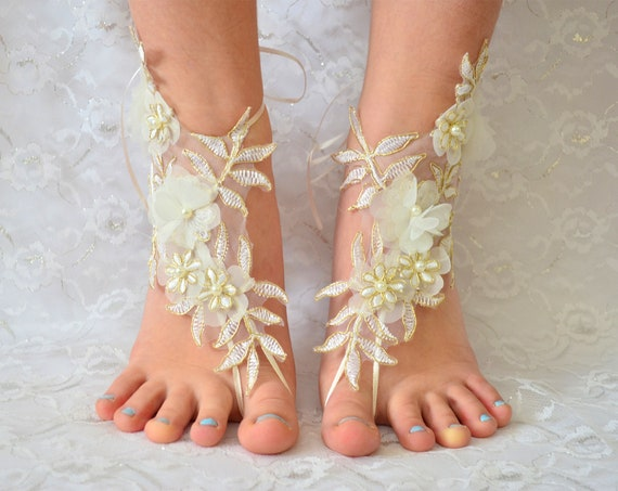 Barefoot sandals wedding gold, Coupon Code Free Shipping, wedding party, wedding shoes lace, wedding shoes for bride 12