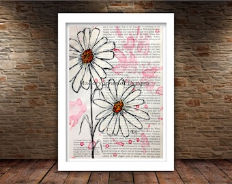 Daisy Flower Line Drawing : Daisies drawing etsy