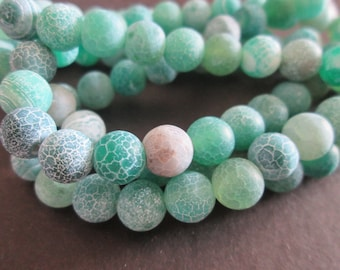 green dragon veins agate round 8 mm 10 beads