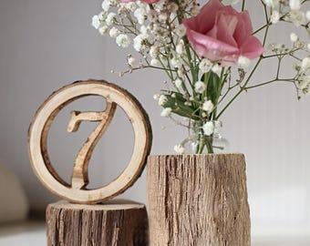 Wedding table number, wood vase, rustic table number, wedding table decor, wedding centerpiece, wood slice numbers, table number holder