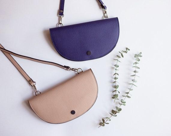 Half Moon Bag, Vegan Leather Bag, Mini Crossbody Bag, Women's Shoulder Bag, Clutch Purse, Semi Circle Bag, Convertible Bag, Versatile Bag