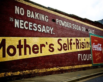 Kitchen Art, Ghost Sign, Mother's Flour Painted Ad, Kitchen Decor, Old Sign Photography