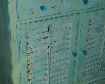 Cabinet Vintage Wood Louvered Chest Beach Cottage Vintage Ethan Allen Custom Paint to Order Poppy Cottage Painted Furniture