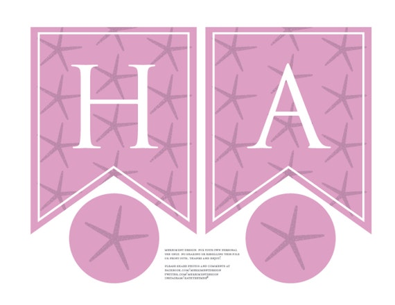 Printable Birthday Banner ~ Personalized starfish birthday banner printable in pink for a