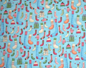 STORE CLOSING SALE - End of Bolt - Winter Games, Buggy Barn, Henry Glass & Co, 100% Cotton Quilt Fabric, Christmas, Stockings, Blue Quilting