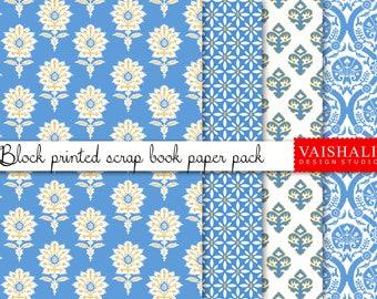 Block print, ethnic, blue colour, 4 sheets, digital print downloads