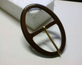 Brown plastic passage 3.7 cm oval buckle * BO143 *.