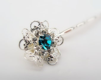Aquamarine Swarovski Filigree Flower Hair Pin, Silver Plated with Aquamarine and Clear Crystals