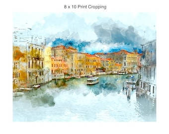Watercolor Grand Canal Venice Italy