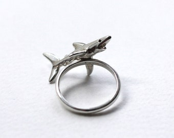 Shark Ring, Sterling Silver & Black Diamond Eyes, Handmade Silver Shark Ring, Brighton, UK