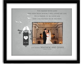Wedding Gift for Mother in law, father in law, Thank you wedding gift for parents of groom, Custom 11x14 Print with photo