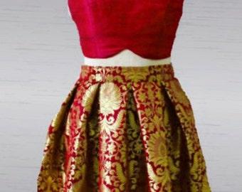 Brocade skirt and Raw silk crop top