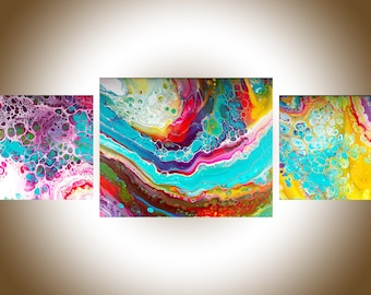 """Abstract painting Acrylic pour fluid art fluid painting set of 3 wall art original artwork canvas art """"bohemian II"""" by qiqigallery"""