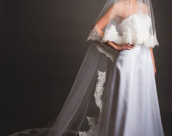 Cathedral veil, drop veil, alencon lace trimmed veil,two tiers veil -made to order-