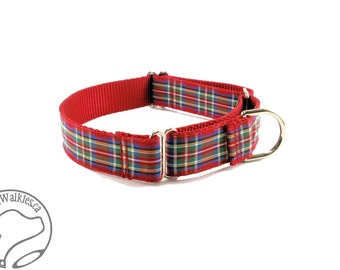 """Royal Stewart Tartan Dog Collar // 1"""" (25 mm) Wide // Royal Red Plaid // Martingale or Quick Release // Choice of collar style and size"""