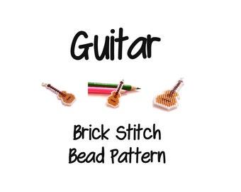 Guitar - Seed Bead Pattern, Brick Stitch Musical Instrument, Miyuki Delica | JPG DOWNLOAD