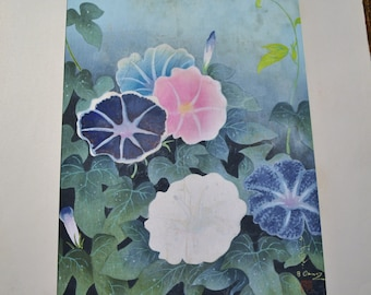 Bakufu Ohno Bird Morning Glory Flower Vine Woodblock Unframed Signed Japanese Asian Mid Century Art Panchosporch