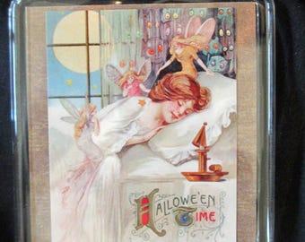 "Halloween Lady With Fairies Handmade Refrigerator Magnet 3.5x2.75"""