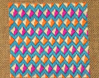 Bargello Needlepoint Florentine Long stitch Original handmade Tooty Frooty Blue Magenta Mango wool hessian vegan