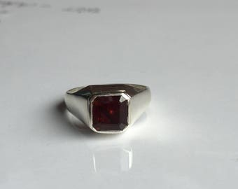 AAA quality natural hessonite garnet men ring in 925 sterling solid silver