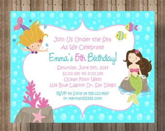 Mermaid Party Invitation / Printable Digital File/ Girls Invitations/Matching Items Available
