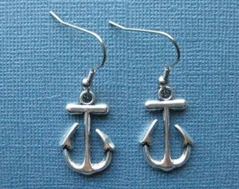 Anchor Earrings - Silver Anchor Earrings - Dangle Earrings - Nautical Earrings - Nautical Jewelry -- E108