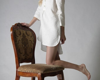 Linen night shirt for woman/ Linen tunic/ Linen shirt