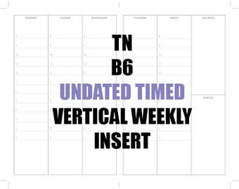 TN B6 Vertical UNDATED TIMED Insert: MO2P, Vertical WO2P, Habit Tracker, Shopping Tracker & Goals Achievements page