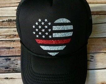 Fire fighter heart flag hat