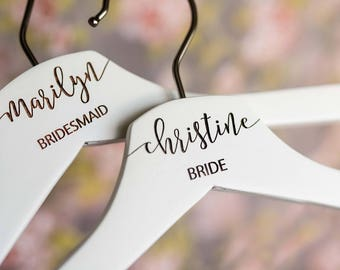 Personalized Bridesmaid Hangers - Wedding Hanger - Wooden Engraved Hanger - Bridal Dress Hanger - Wedding Name Hangers HG100